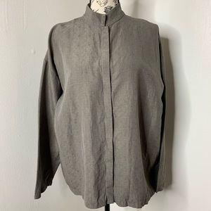 EILEEN FISHER | Green Gray Long Sleeve Button Down